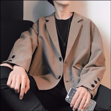 Suit Jacket Male Clothing Vintage Loose Long-Sleeve Autumn Small Korean-Style Boys Handsome