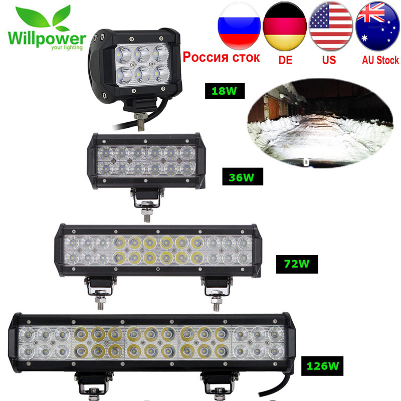 1/2pcs 18W 36W 72W 108W Led Light Bar Work Lights 12v Spot Flood Combo Beam For Truck Tractor ATV SUV 4X4 4WD Offroad Headlights
