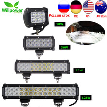 цена на 1/2pcs 18W 36W 72W 108W Led Light Bar Work Lights 12v Spot Flood Combo Beam for Truck Tractor ATV SUV 4X4 4WD Offroad Headlights
