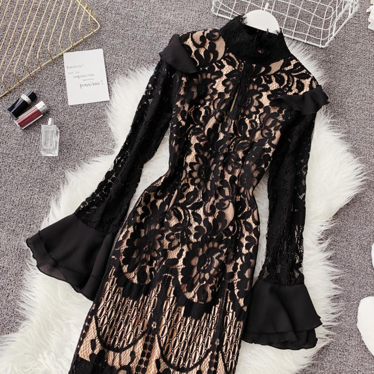 Vintage Bodycon Black Lace Dress 8