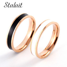 Fashion Stainless Steel Rose Gold Oil Drop Rings Wedding Couple Ring For Lovers Bridal Engagement Jewelry Valentine Gift fashion stainless steel rose gold oil drop rings wedding couple ring for lovers bridal engagement jewelry valentine gift