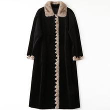 Модное пальто с норковым воротником черное зимнее роскошное