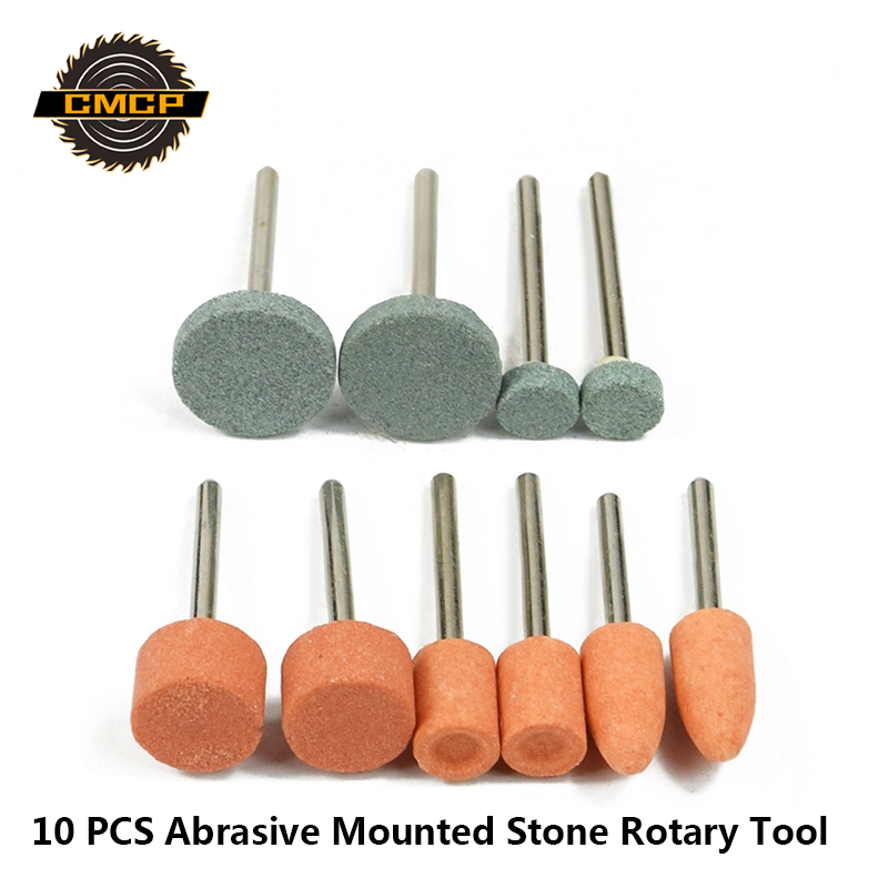 10PC Abrasive Mounted Stone Cylindrical Grinding Head Wheel Head  For Dremel Rotary