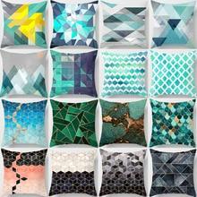 Abstract Geometric Peach Skin Pillow Blue Cushion Cover Polyester Pillowcase 45 45cm Sofa Pillow Cover Car