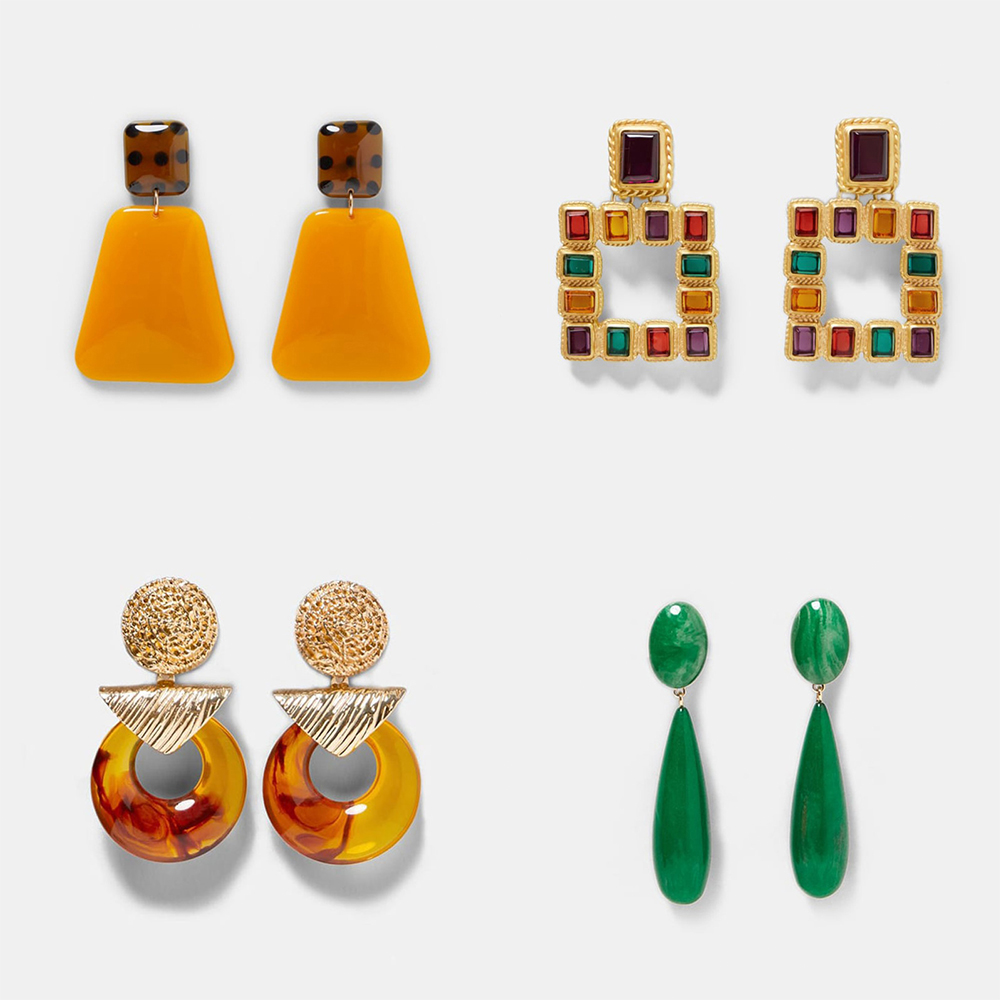 Ztech Fashion ZA Resin Drop Earring For Women Wedding Jewelry Boho Elegant Shiny Acrylic Dangle Hanging Statement Earrings