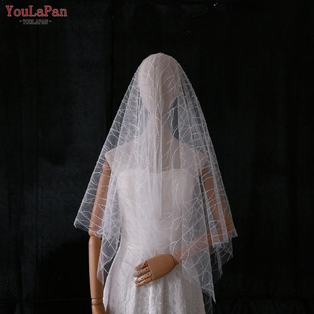 YouLaPan V39 Hot Sale 1 Tier Fingertip Wedding Veils Shiny Beaded Veil 2020 New Bridal Veil no Comb Luxury Wedding Accessories