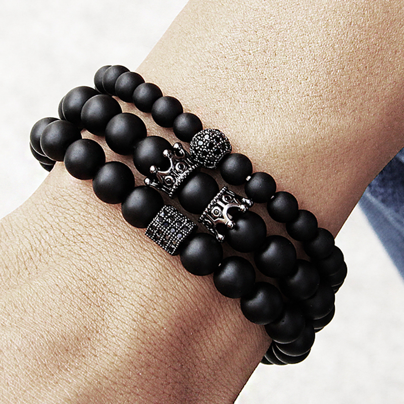 Micro Pave Black Beaded CZ Zirconia King Crown & Bar Charm Bracelet Men Stone Bead Bracelet Valentine men Jewelry dropshipping