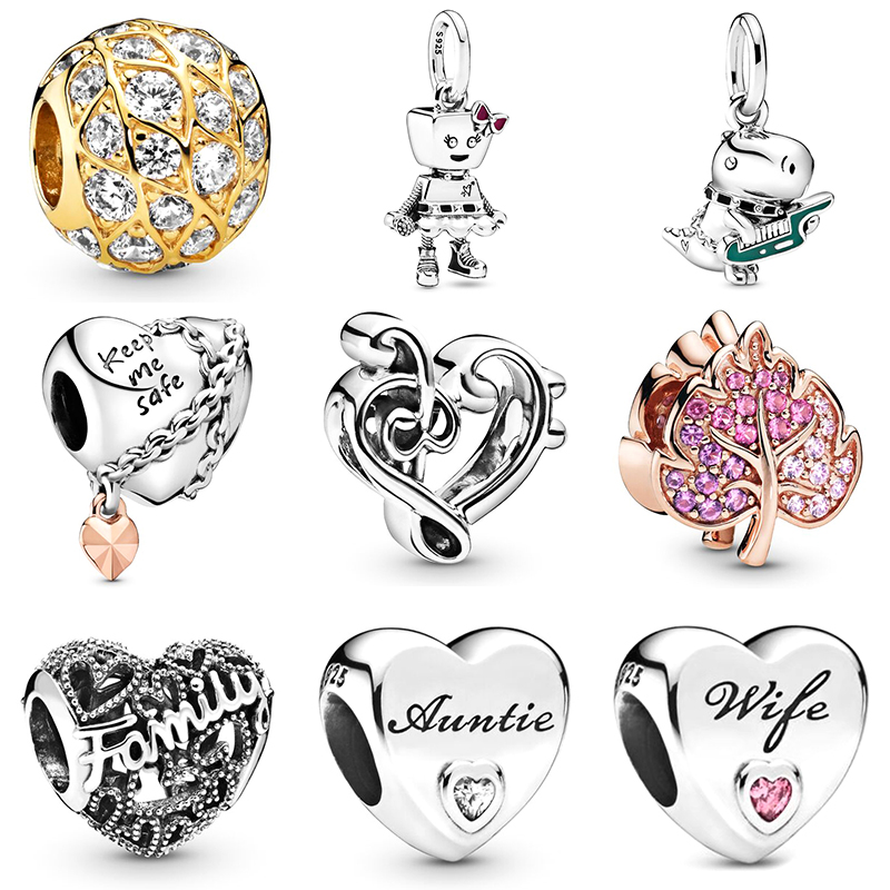 2019 NEW 100% 925 Sterling Silver Family Band Hanging Charm Rose Sparkling Pave Leaf Charm Fit DIY Bracelet Jewelry Set Gift
