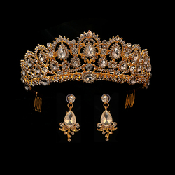Gold Color wedding crown headband tiara queen crown for bride diadem with earrings baroque headband hair Jewelry ornament