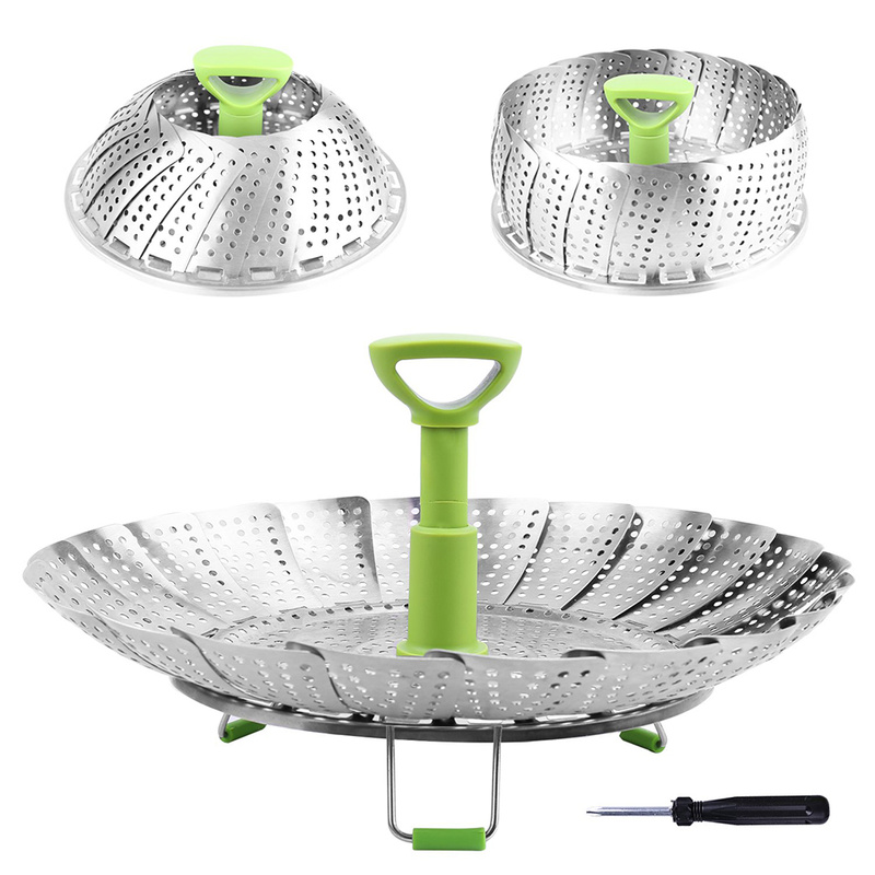 Dish Steamer Cookware Steaming Food Basket Mesh Stainless Steamer Folding Food Fruit Vegetable Vapor Cooker Stainless