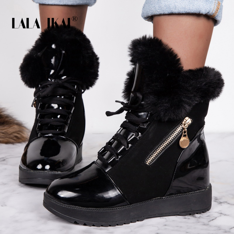 LALA-IKAI-Women-Winter-Ankle-Boots-2019-PU-Leather-Warm-Snow-Boots-Female-Black-Outdoor-Waterproof