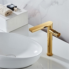 28EB Basin Faucet Hot and Cold Bathroom Mixer Tap Black Brass Bathroom Faucets Single Handle Hole Water Crane Mixers Tap