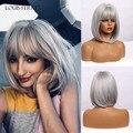 Парик Луи Ферре серый пепельный Серебряный парик с челкой короткий прямой косплей Bobo синтетический парик для чернокожих женщин термостойк...