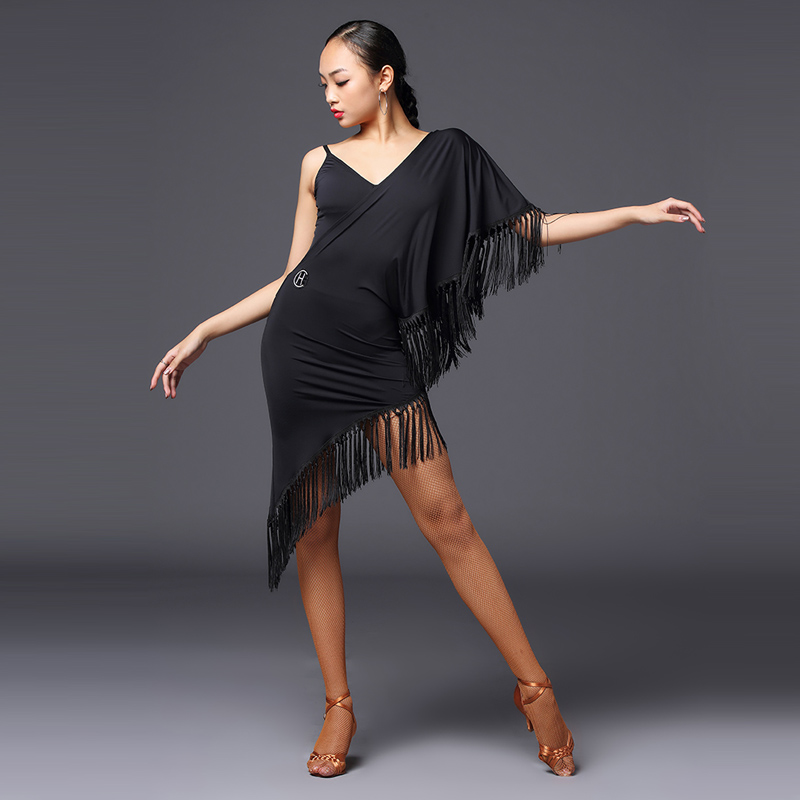 New Women Latin Sexy Tassel Fringed Dress Ballroom Dance Competition Dresses Latin Dance Dress Performance Stage Wear DQS3708