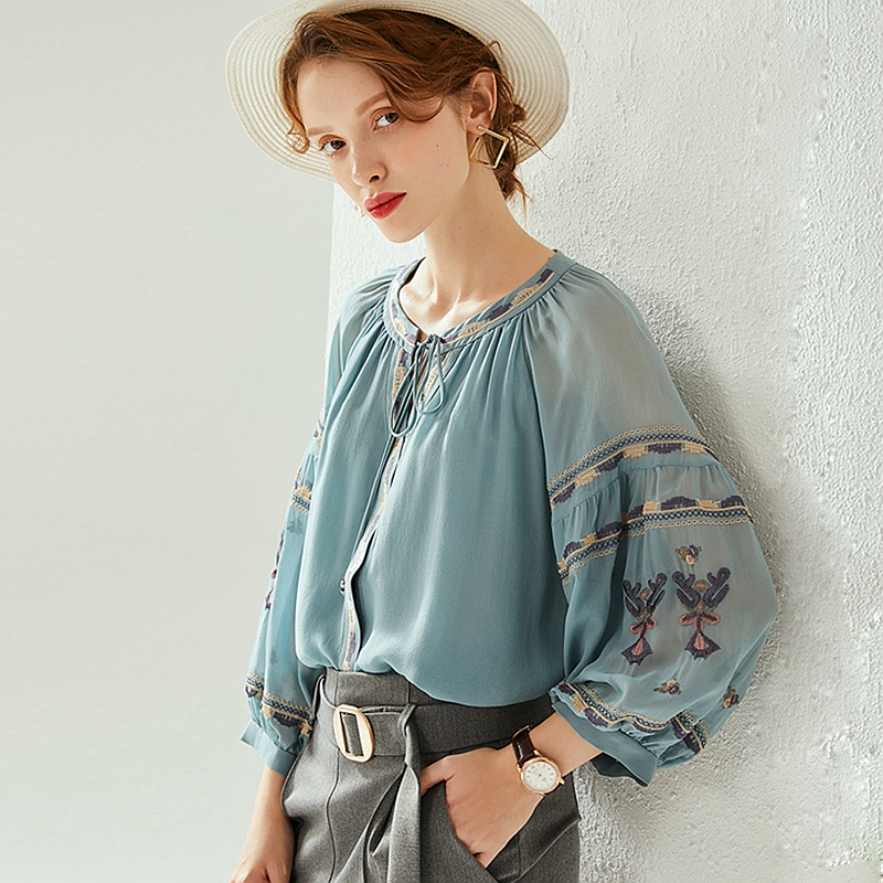 100% Silk Blouse Women Blue Vintage Embroidered Silk Shirt Silk Heavy Industry Embroidery Elegant Casual Top New Fashion