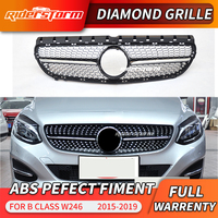 Diamond Grille Black Silver For B Class W246 Front Bumper Racing Grill 2015-2018 B180 B200 B250 B220 Car Styling