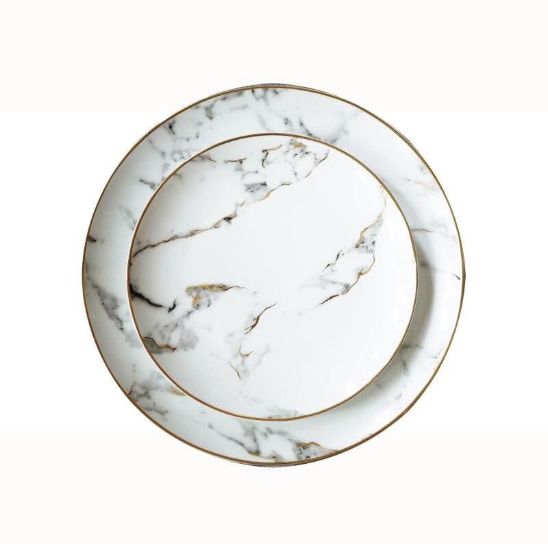 Lekoch assiette à Dessert en porcelaine   4 pièces assiette à dîner motif marbre, vaisselle en céramique assiette à Steak, salade Snack - 6