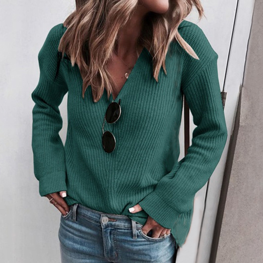 2020 Sweaters Knitted Autumn Winter Sweater Women Office Vintage Pullover White With Black Sweater Women V Neck Sweater Female