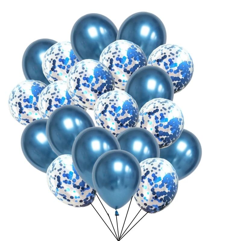 20 pièces ballons bleus mariage ballons métalliques anniversaire décor baptême garçon Ballon Bleu décor anniversaire Balony enfant fête Globos