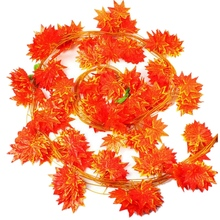 12 Piece 2.3M Artificial Vine Red Autumn Maple Leaf Fake Garland Plants Foliage Garden for Wedding Party Home Decoration