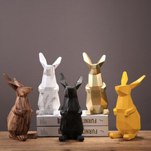 EUROPEAN RESIN GEOMETRY LUCKY RABBIT ORNAMENTS DECOARATION OPENING HOUSEWARMING GIFTS HOME LIVINGROOM TABLE FURNISHINGS CRAFTS(China)