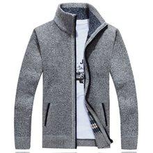 の冬のニットセーターコートオフホワイト長袖カーディガンフリースフルジップ男性因果プラスサイズの服秋