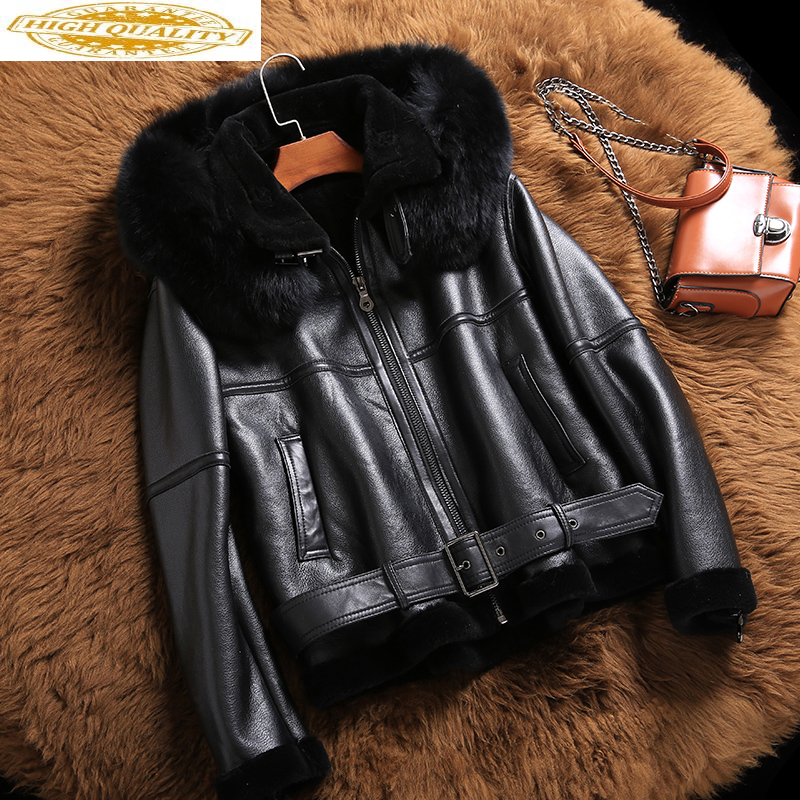 Genuine Leather Jacket Sheep Shearling Fur Coats 2020 Winter Jacket Women Fox Fur Collar 100% Real Sheepskin Coat MY3701