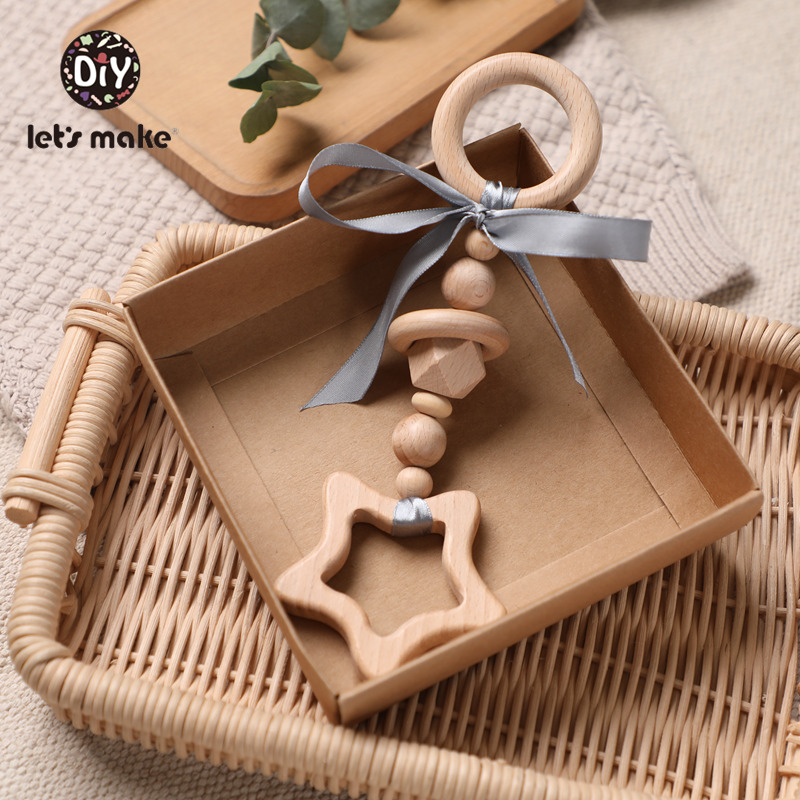 Let's Make Baby Toys 0-12 Months Wooden Rattles For Children 1pc Educational Toys Beech Animal Teether Elephant Ribbon Bed Bell