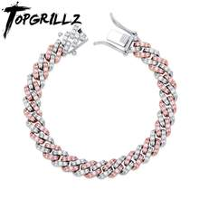 TOPGRILLZ 8mm Miami Cuban Chain Bracelet Iced Out Micro pave Cubic Zirconia Bracelet Hip Hop Rock Fashion Jewelry For Gift(China)