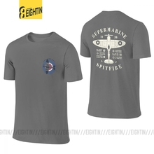 Vintage Fighter Plane Supermarine Spitfire Men T Shirt Front Back Two Sides Aircraft Airplane Tee Short Sleeve T-Shirts Cotton