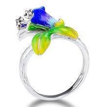 Элегантные темпераментные эмалевые кольца женский цветок перегородчатое