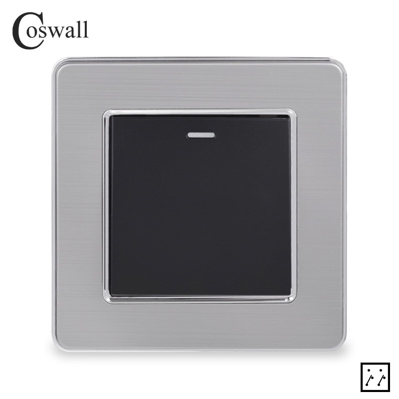 Coswall Stainless Steel Panel 1 Gang 3 Way Intermediate Switch Crossover Switch On / Off Wall Light Switch 16A X2 Series