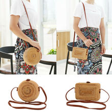 new ladies hand-woven bag round rattan retro literary leather buckle package Bohemia Beach Messenger