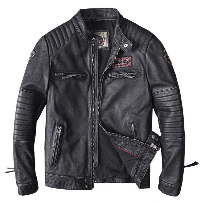 Motorcycle-Jacket Skull Clothing Coats Real-Head-Layer Cowhide Genuine-Leather New Black