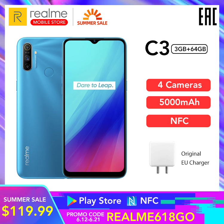 "realme C3 Global Version 3GB 64GB Mobile Phone Helio G70 12MP AI Camera 6.5"" HD+ Mini drop Screen 5000mAh Battery Play Store NFC|Cellphones|   - AliExpress"