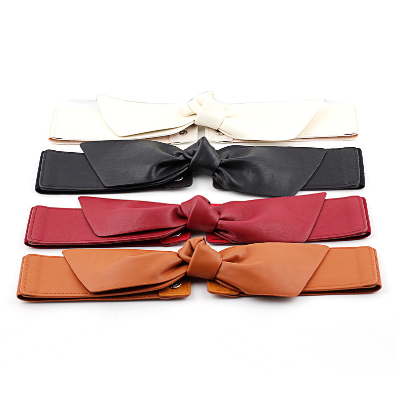 2020 Women Wide Belts For Dresses Leather Big Bow Red Cummerbund Ladies Fashion 2020 Brand Solid Female Wide Waist Belt