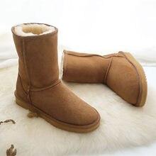 Moda damska Australia klasyczne podstawowe buty śniegowe połowy łydki 100% prawdziwej skóry wełny pokryte zimą ciepłe antypoślizgowe gumowe buty