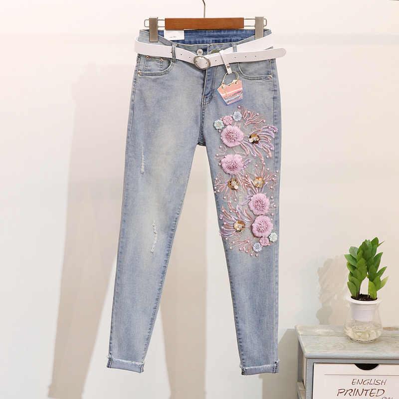 Nuevas camisetas de primavera para mujer de algodón con bordado de lentejuelas y pájaros + Pantalones vaqueros Vintage de dos piezas para niñas y estudiantes