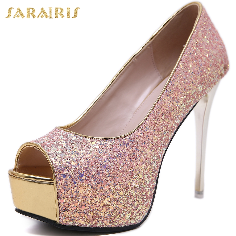 Sarairis On Sale <font><b>Sexy</b></font> <font><b>Extreme</b></font> <font><b>Fetish</b></font> <font><b>High</b></font> <font><b>Heels</b></font> Peep Toe Platform Bling Party Wedding Women Summer <font><b>Shoes</b></font> Woman Pumps image