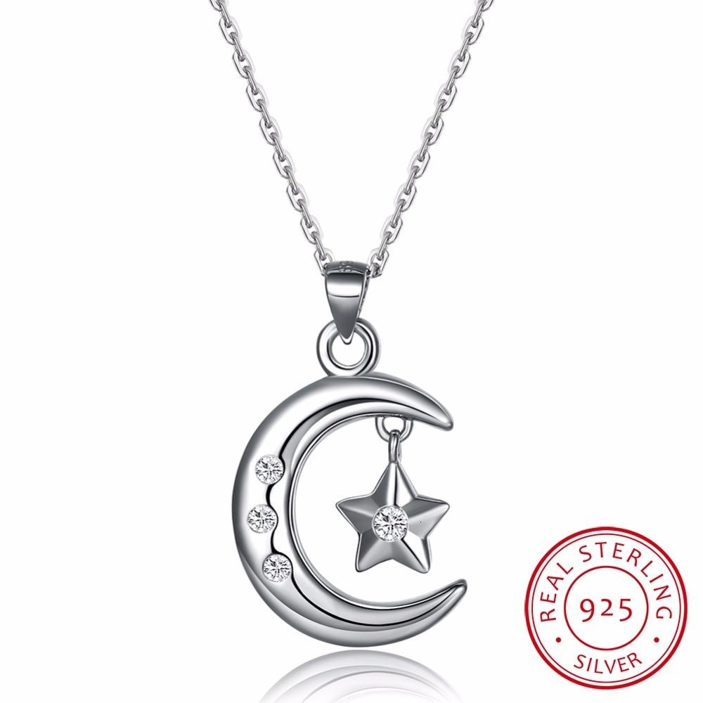 Lekani Elegant 925 Sterling Silver Moon Stars Charm Pendant Necklaces For Women Fashion Silver Necklace Choker