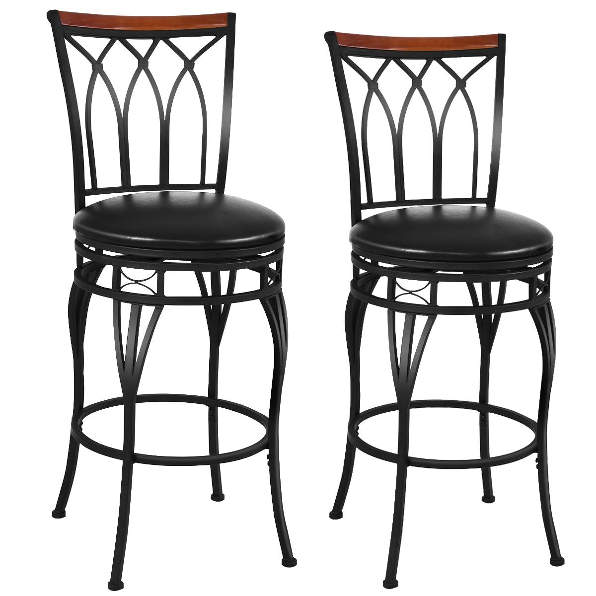 Costway Set Of 2 Vintage Bar Stool 24'' 28.5'' Height Adjustable Bistro Pub Chair