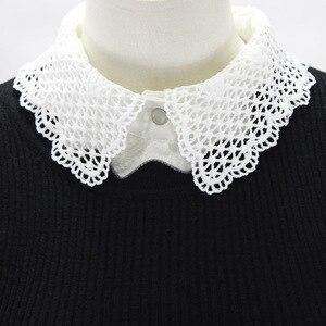 中空アウトシフォンシャツ女性ディッキーレース装飾リードハーフフェイク襟取り外し可能な新送料無料卸売ネックレス