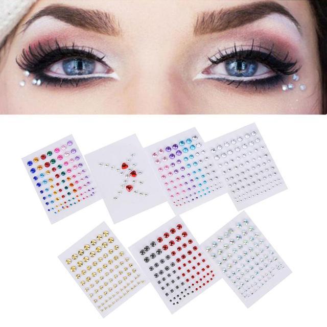 Christmas DIY Eyebrow Adhesive Crystal Glitter Face Body Art Jewels Festival Party Eye Stickers Tattoo Makeup Xmas Decor