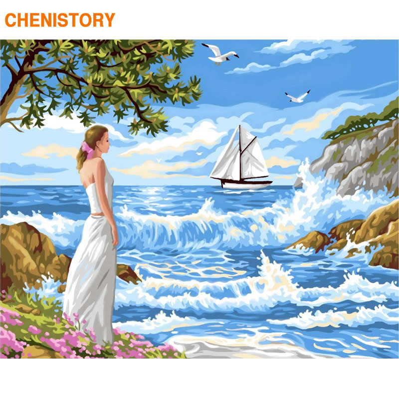 CHENISTORY Frame DIY Painting By Numbers Seascape Girls Canvas By Numbers Kit Modern Wall Art Picture By Numbers For Home Decors