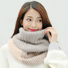 Korean Fashion Plush Womens Knited LIC Dachshund Thick Warm Striped Scarf Collar Patchwork Ladies Winter Scarves Ring Stoles