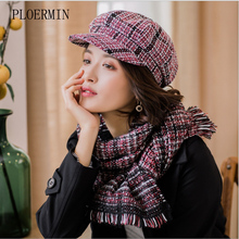 2019 新冬のベレー帽スカーフセット女性のファッションチェック柄ウール厚いベレー帽八角帽子画家帽子スカーフセット