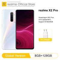 """Globalna wersja realme X2 Pro 8GB 128GB telefon komórkowy Snapdragon 855 Plus 64MP Quad Camera NFC 6.5 """"telefon komórkowy VOOC 50W szybka ładowarka"""