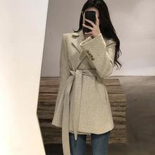 Fall Winter Woolen Herringbone Long Suit Sashes England Style Tweed Notched Blaz