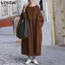 Женское платье s 5xl vonda 2021 повседневные однотонные плиссированные