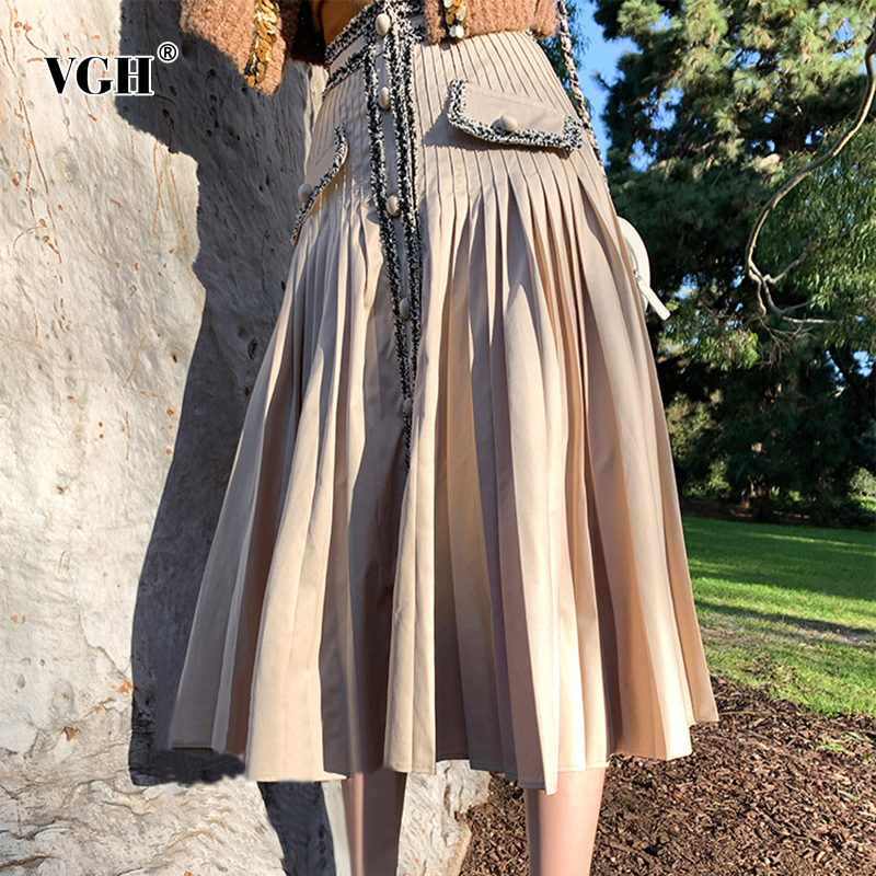 VGH Patchwork Hit Color Tweed Womens Skirts High Waist Button Pocket Pleated A Line Skirt Female 2019 Autumn Fashion New Clothes